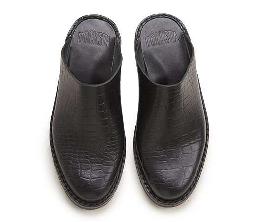 Slippers / Tofflor - Billies Svart Croco croco | Docksta Sko